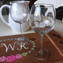 Etched Glasses and Wooden Tray